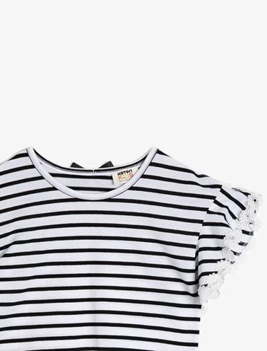 Koton Kids Dantel Detayli T-Shirt Siyah